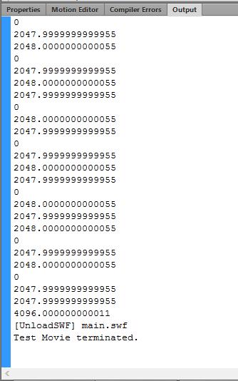 我在 30fps 下播放一个 mp3 音频,并将每帧之间的 SoundChannel.position 之差 trace() 出来,发现采样点要么是 0 ,要么是 2048 ,最后出现的 4096 应该是由于强行中断运行造成的